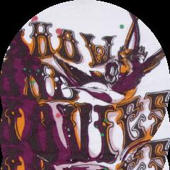 込みプリント オレンジ+紫+茶色インク