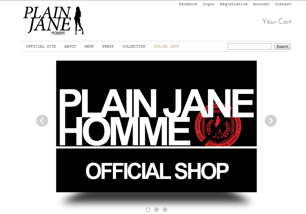 Website「Plain Jane Japan Online Shop」イメージ